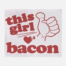 Girl Loves Bacon Throw Blanket