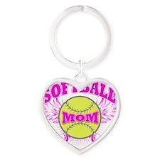softball mom Heart Keychain