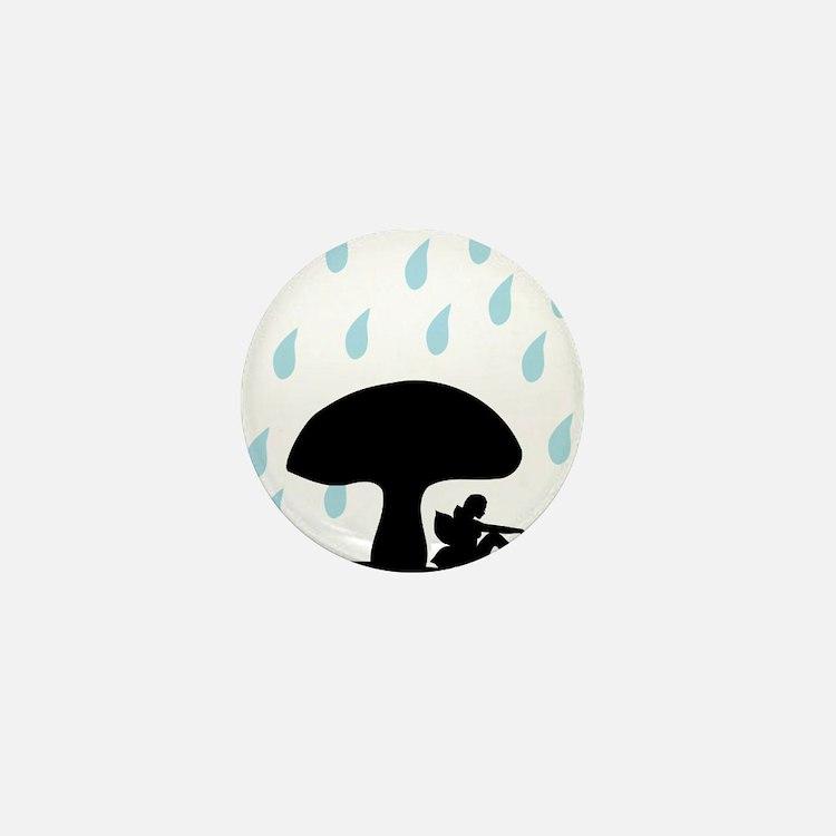 Fairy under toadstool in Rain silhouet Mini Button