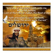 "The Lion of Zion Square Car Magnet 3"" x 3"""