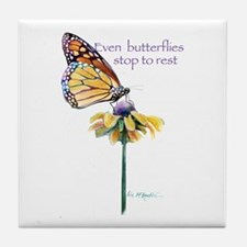Monarch butterfly resting Tile Coaster