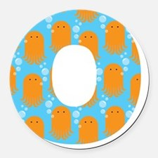 O is for Octopus Round Car Magnet