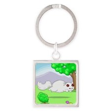 Running White Squirrel Square Keychain