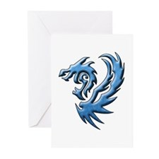 Twin Dragons: Blue Greeting Cards (Pk of 10)