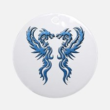 Twin Dragons: Blue Ornament (Round)
