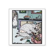 "Sheep Plumber butt crack Square Sticker 3"" x 3"""