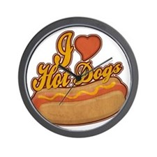 ILoveHotdogs Wall Clock