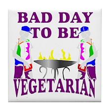 Funny BBQ vegetarian Tile Coaster
