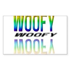 WOOFY -RAINBOW MIRRORED TEXT Rectangle Decal