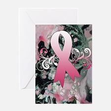 Pink Ribbon Marble Greeting Card