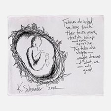 Baby In Womb - Artist Etching Throw Blanket