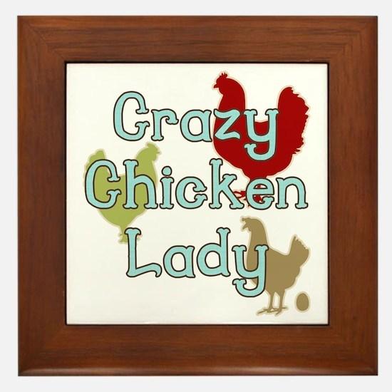 Crazy Chicken Lady Framed Tile