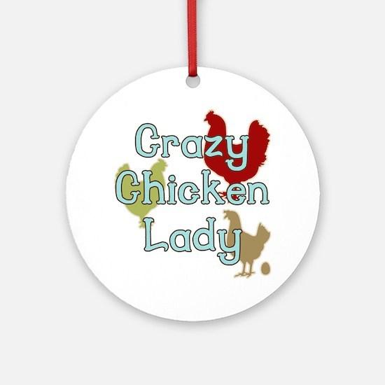 Crazy Chicken Lady Round Ornament