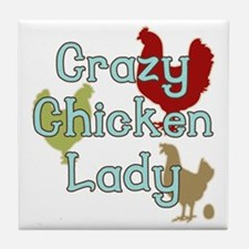Crazy Chicken Lady Tile Coaster