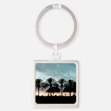 Palm Tree Sunset / Long Beach, CA Square Keychain