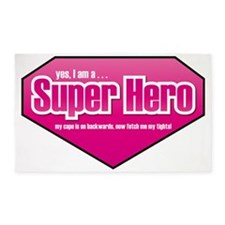Super Hero in PINK 3'x5' Area Rug