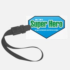 Super Hero in Green and Blue Luggage Tag