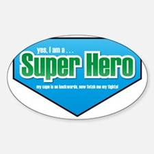 Super Hero in Green and Blue Sticker (Oval)
