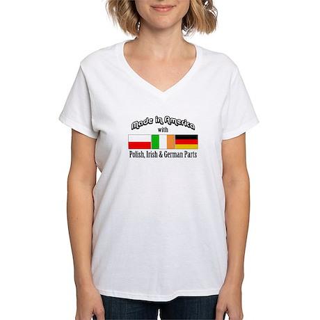 Polish-Irish-German Women's V-Neck T-Shirt