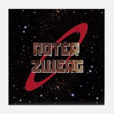 Roter Zwerg with stars Tile Coaster