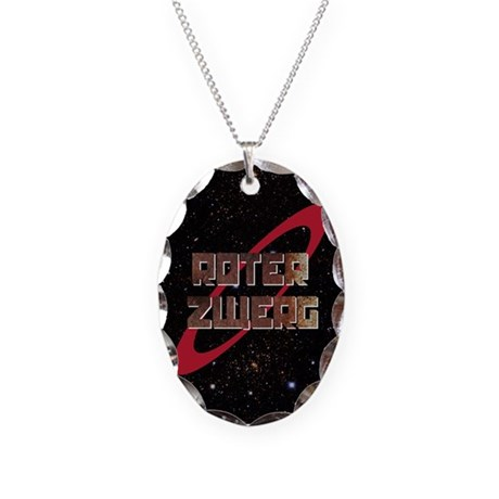 Roter Zwerg with stars Necklace Oval Charm