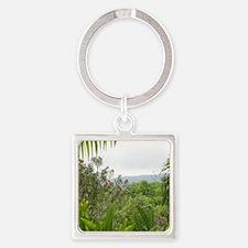 Jamaican Jungle Square Keychain