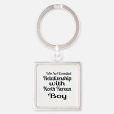I Am In Relationship With North Ko Square Keychain