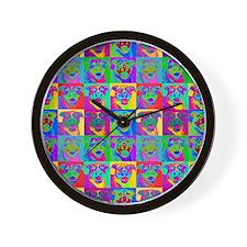 Op Art Pitbull Wall Clock