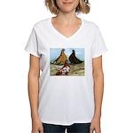 Shortfaced Tumbler Pigeons Women's V-Neck T-Shirt