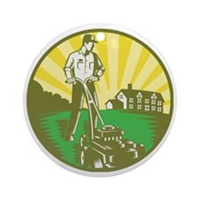 Gardener Mowing Lawn Mower Retro Round Ornament