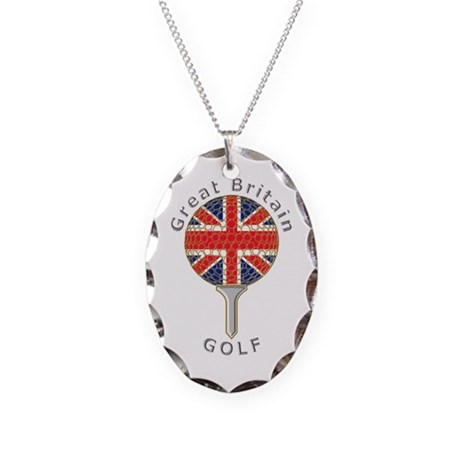 Great Britain union jack golf Necklace Oval Charm