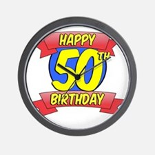 Happy 50th Birthday Balloon Wall Clock