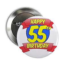 "Happy 55th Birthday Balloon 2.25"" Button"