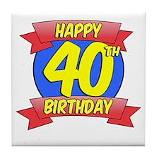 Happy 40th Birthday Balloon Tile Coaster