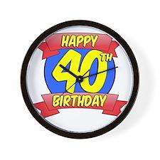 Happy 40th Birthday Balloon Wall Clock
