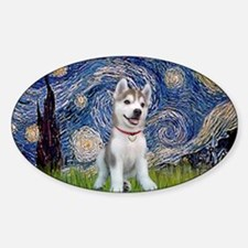 Starry-Siberian pup Sticker (Oval)