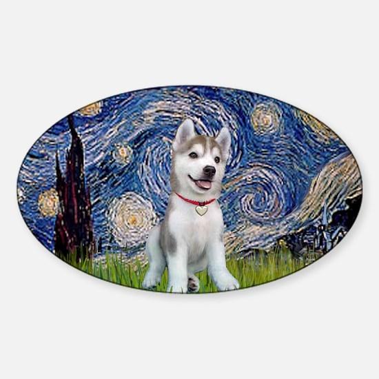 Starry-Siberian pup Sticker (Oval)