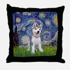 Starry-Siberian pup Throw Pillow