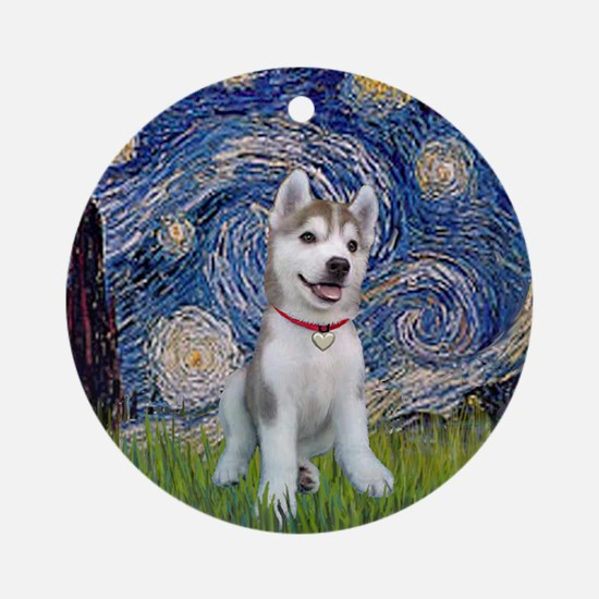 Starry-Siberian pup Round Ornament