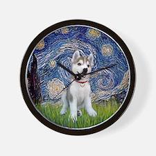 Starry-Siberian pup Wall Clock