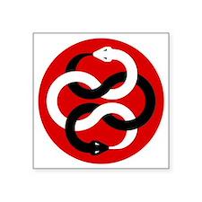 "Double Oroborous-Red Square Sticker 3"" x 3"""