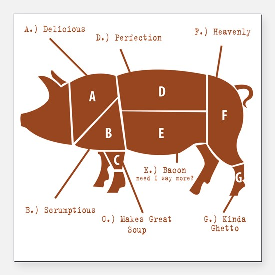 "Delicious Pig Parts! Square Car Magnet 3"" x 3"""