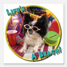 "Beach Papillon Square Car Magnet 3"" x 3"""