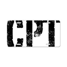CPT army rank black distres Aluminum License Plate