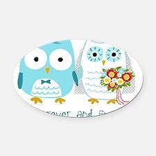 owlsforeverwht Oval Car Magnet