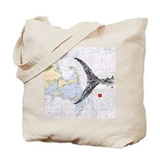 Mass bay and islands with tuna tail Tote Bag