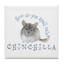 cute chinchilla Tile Coaster