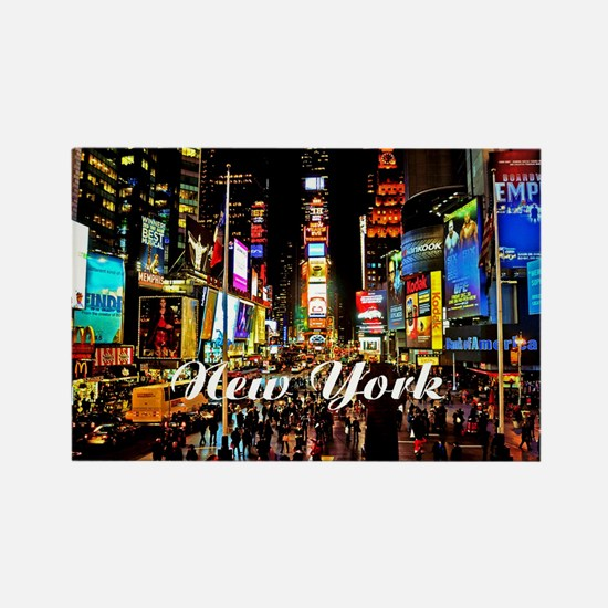 NY_5x3oval_sticker_TimesSquare Rectangle Magnet
