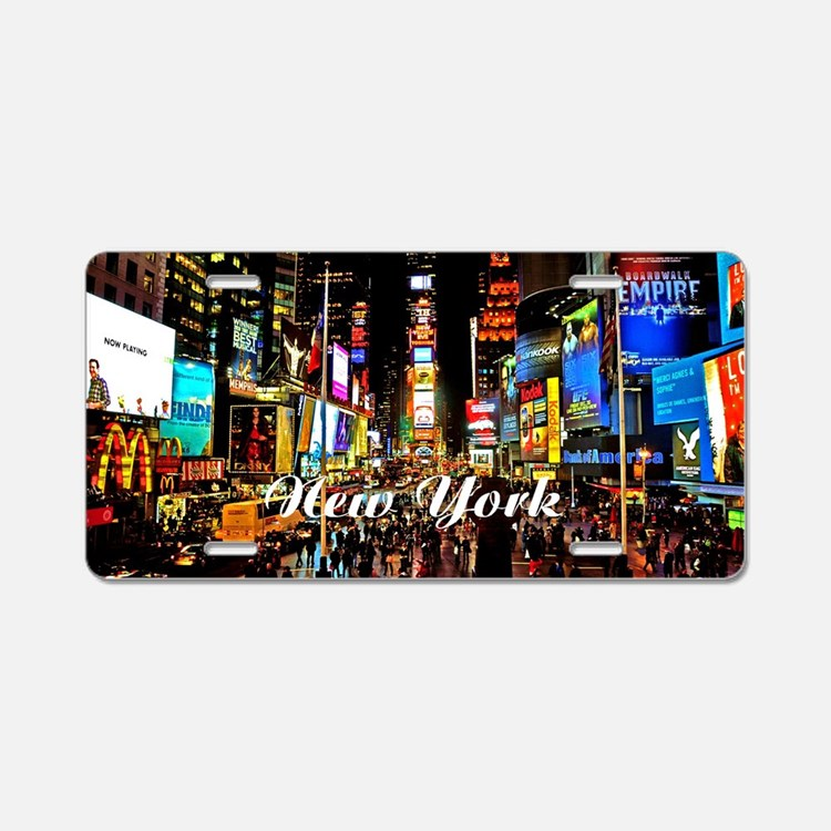 NY_5x3oval_sticker_TimesSqu Aluminum License Plate