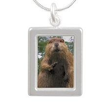 Cute Beaver Silver Portrait Necklace